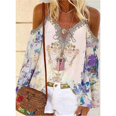 Print Floral Cold Shoulder Long Sleeves Casual Blouses