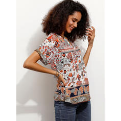 Print V Neck Short Sleeves Button Up Casual Blouses