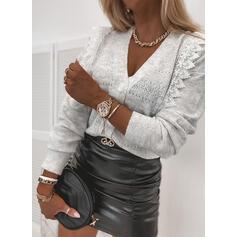 Solid Blonder V-hals Casual Cardigan