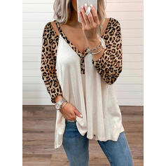 Leopard V-hals Lange ermer Button up Casual Strikking Bluser
