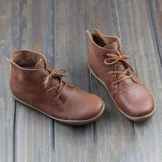 Női PU Lapos sarok Lakások Csizma -Val Lace-up cipő