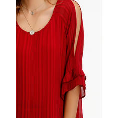 Striped Round Neck 3/4 Sleeves Casual Blouses