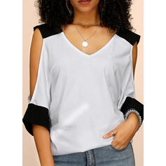 Solid Cold Shoulder 1/2 Sleeves Casual Knit Blouses