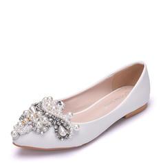 Femmes Similicuir Talon plat Bout fermé Chaussures plates avec Perle d'imitation Strass
