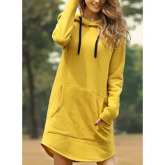 Solid Long Sleeves Shift Above Knee Little Black/Casual Sweatshirt Dresses