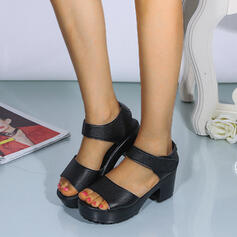 Women's PU Chunky Heel Sandals Peep Toe With Velcro shoes