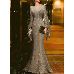 Sequins Long Sleeves Sheath Party Maxi Dresses