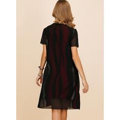 Color-block Short Sleeves Shift Knee Length Casual/Elegant Dresses