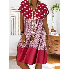 Πουά/Καρό Κοντά Μανίκια Αμάνικο Μήκος Γόνατος Καθημερινό Μπλουζάκι Сукні