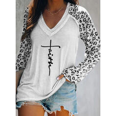 Drucken Leopard Figur V-Ausschnitt Lange Ärmel Freizeit T-shirts