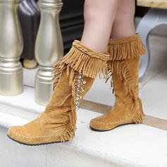 Women's Suede Flat Heel Mid-Calf Boots Snow Boots With Rivet Tassel shoes