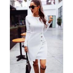 Solid Long Sleeves Sheath Knee Length Elegant Dresses
