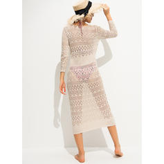 Solid Color Crochet V-neck Sexy Cover-ups Swimsuits