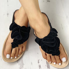 Women's PU Flat Heel Sandals Flats Flip-Flops Slippers With Flower Elastic Band shoes