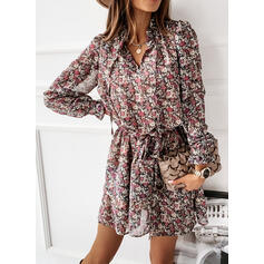 Print/Floral Long Sleeves/Puff Sleeves A-line Above Knee Casual Skater Dresses