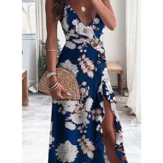 Impresión/Floral Sin mangas Vestido línea A Camisón/Patinador Casual/Vacaciones Maxi Vestidos