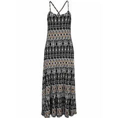 Print Sleeveless Shift Slip Casual/Boho/Vacation Maxi Dresses