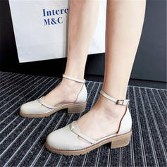 Women's PU Chunky Heel Sandals Closed Toe With Others shoes