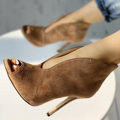 Women's Microfiber Leather Stiletto Heel Pumps Peep Toe With Others shoes