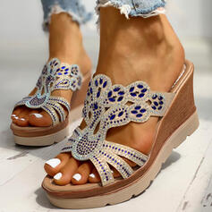 Women's PU Wedge Heel Sandals Peep Toe Slippers With Rhinestone shoes