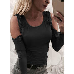 Solid Floral Round Neck Long Sleeves Casual Blouses