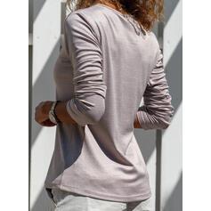 Düz / Tek (Renk) V yaka Uzun kollu Günlük Alap Blúzok