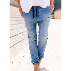 Jednolity Dżinsowa Długo Nieformalny Duży rozmiar Pocket drawstring Dżinsy