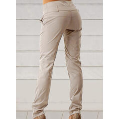 Solid Long Casual Plus Size Shirred Button Pants