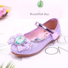 Flicka rund tå Stängt Toe sparkling blänker platt Heel Platta Skor / Fritidsskor Flower Girl Shoes