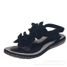 Mulheres PU Sem salto Sandálias Chinelos com Faixa Elástica sapatos