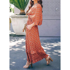 Print 1/2 Sleeves/Batwing Sleeves A-line Casual/Elegant Maxi Dresses