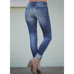 Pockets Shirred Plus Size Long Sexy Skinny Denim & Jeans