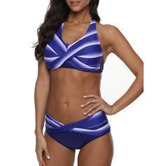 Cross Gradient Halter Round Neck Elegant Bikinis Swimsuits