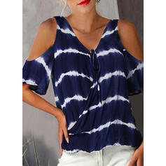 Tie Dye V-Neck Cold Shoulder 1/2 Sleeves Casual Blouses
