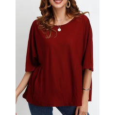 Solid Round Neck 1/2 Sleeves Casual T-shirts