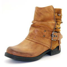 Women's PU Chunky Heel Boots Martin Boots With Buckle shoes
