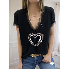 Print Lace Sequins Heart V-Neck Short Sleeves Casual Blouses
