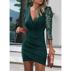 Lace/Solid Long Sleeves/Puff Sleeves Bodycon Above Knee Little Black/Casual Dresses