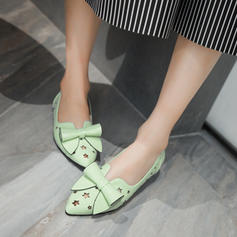 Women's PU Flat Heel Flats Closed Toe With Bowknot shoes