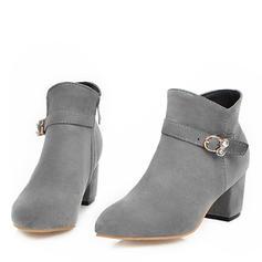 Жіночі Замша Квадратні підбори Бокові черевики з Кристал Блискавка взуття