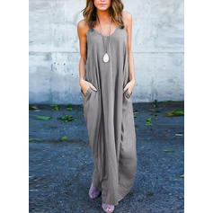 Solid Sleeveless Shift Maxi Casual/Vacation Dresses