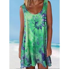 Spleiß Farbe Gradient Träger Rundhalsausschnitt Übergröße Bunt Lässige Kleidung Strandmode Bademode