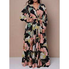 Plus Size Floral Print Long Sleeves A-line Maxi Elegant Dress