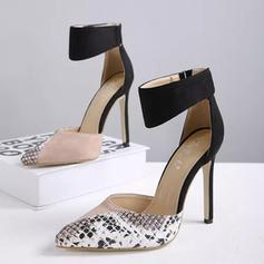 Women's PU Stiletto Heel Pumps Closed Toe With Animal Print Velcro shoes