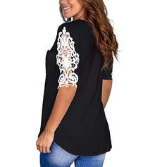 Patchwork Lace V-Neck Short Sleeves Casual T-shirts