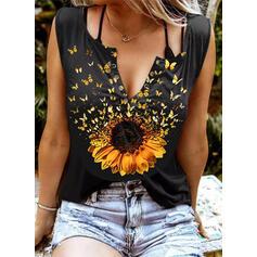Sunflower Print Butterfly V-Neck Sleeveless Tank Tops