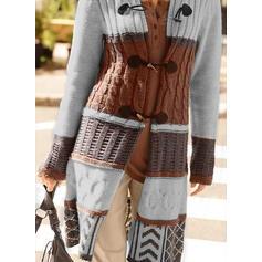 カラーブロック ケーブル編み フード付き カジュアル ロング カーディガン