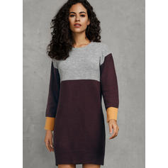 Bloque de Color Cuello Redondo Casuales Largo Vestido de Suéter