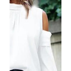 Solid Cold Shoulder Flare Sleeve Long Sleeves Casual Blouses