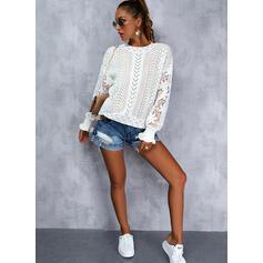 Einfarbig Spitze Rundhalsausschnitt Lässige Kleidung Pullover